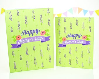 Happy Mother's Day Printable Card, Floral Mother's Day Card, DIY Mother's Day Gift, Blank Greeting Card, Digital Download