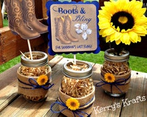 Boots and Bling Centerpiece - bachelorette party - bridal shower - sunflower and burlap