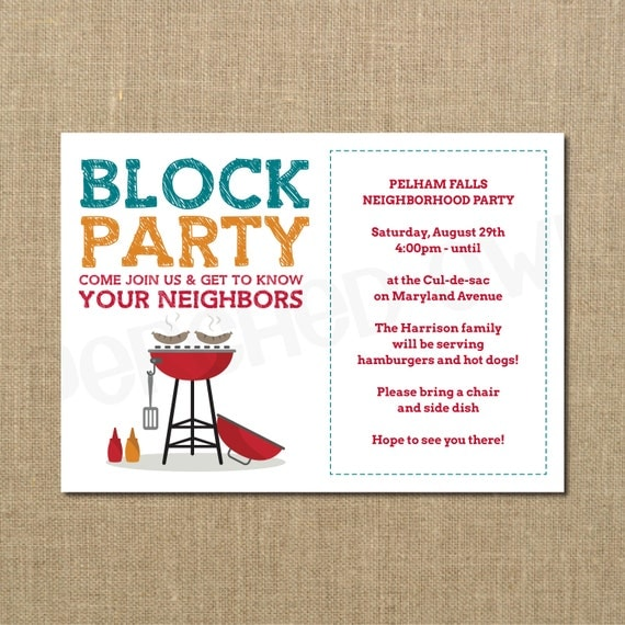 neighborhood block party cookout invitation grilling out, Party invitations