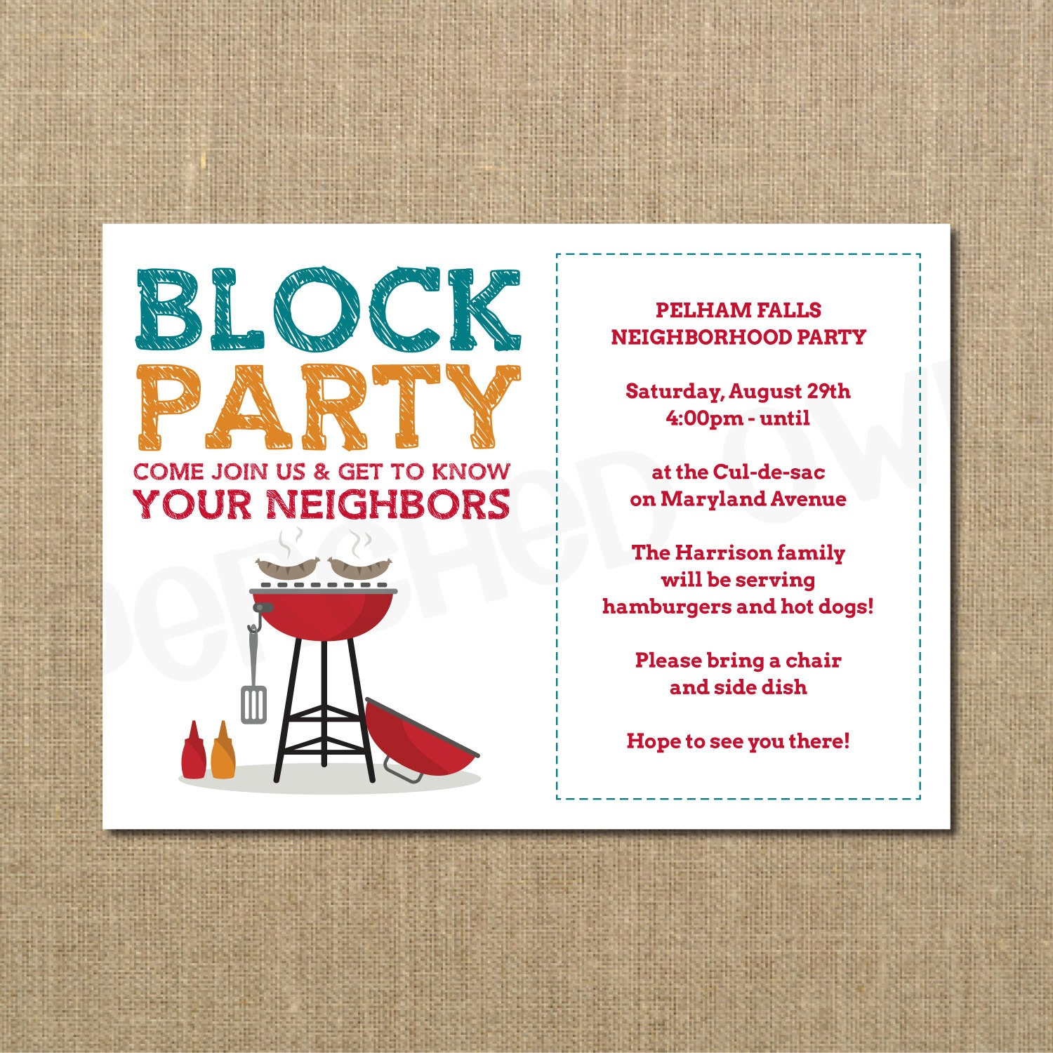 Neighborhood block party cookout invitation grilling out for Block party template flyers free