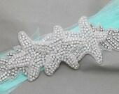 Starfish Crystal Bridal Sash, Beach Wedding Sash, Organza Ribbon, Organza Belt, Bridal Belt, Wedding Belt, Leaf Sash, Belt