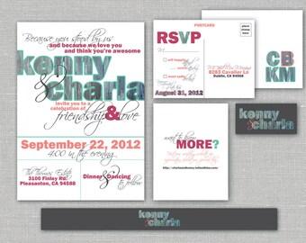 "Printable Wedding Invitation, RSVP, Info card, Monogram with Barnwood Design - Vintage, Rustic, Custom design-  ""Rustic Wood"""