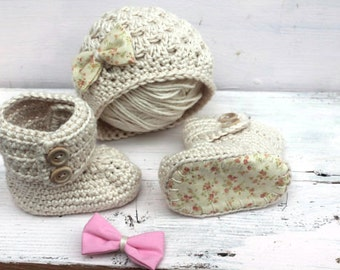 Hat and Bootie Set, Baby Girl Clothes Newborn, Take Me Home Outfit