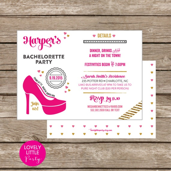 Modern Simply Stilleto Bachelorette Party Invite DIY Printable -  Lovely Little Party