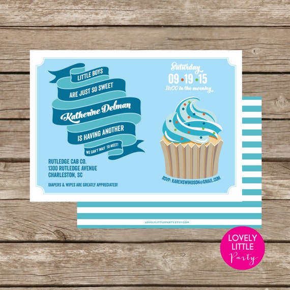 Printable 2nd BABY BOY Shower/Sprinkle Invitation- Lovely Little Party