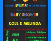 Chalkboard Super Hero Baby Shower Invitation