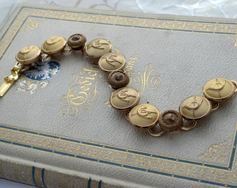 Vintage Metal Button Buttons Bracelet Jewelry One Of A Kind OOAK Unique Gold Musician