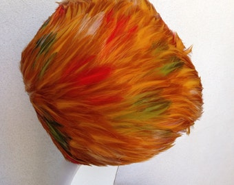 Vintage stunning feather hat felt by Gay Paree designer golds reds sz 22