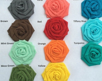 Cotton Rosettes-Choose Your Colors- 17 Colors Available- 3 Sizes Available-Weddings/DIY-Bulk Rosettes-Fabric Flowers-Roses