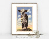 VINTAGE CALF PHOTO to print - digital download - printable vintage photo to frame or transfer to totes, pillows, prints, clothes & cards