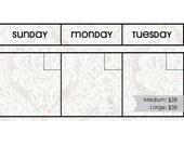 6 Week Dry/Wet Erase CALENDAR MAGNET SET: White Vintage Color. Choose Your Font. Frame not included.