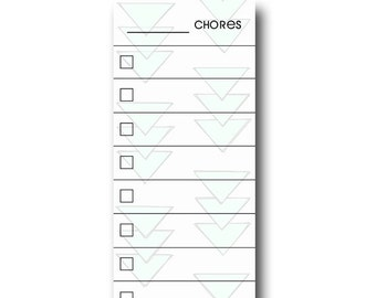 SKINNY Aztec Blue Fill In Chore Chart Magnet.  Wet Erase Marker Included.