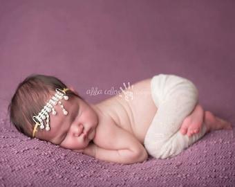 Rhinestone Headband, Baby Headband, Vintage Gold- Rhinestone Pearl Teardrop Gold Vintage Headband