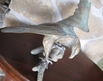 Large Solid Brass Eagle Sculpture, Green Patina, Indoor or Outdoor, Patriotic, Symbol of Freedom, United States,