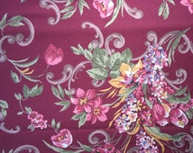 Cotton Quilting Fabric Burgundy Cotton Fabric Pink Flowers Scrolls Sage Green Leaves Floral Fabric - 1 1/8 Yard - CFL0931