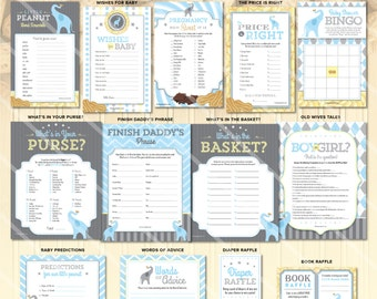 Elephant Baby Shower Games | Little Peanut Theme | Boy Baby Printable Game Blue | ONE GAME You Choose | Invitation & Decorations Available