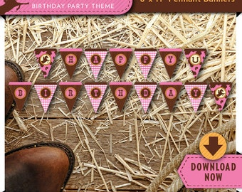 Cowgirl Pink Party Banner   Printable Birthday Party Decorations   Girl   Instant Download