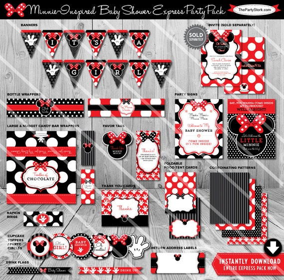 Minnie Mouse Baby Shower Decorations Red Girl Printable Decor