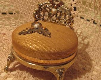 Vintage Ormolu Chair-Shaped Trinket Box