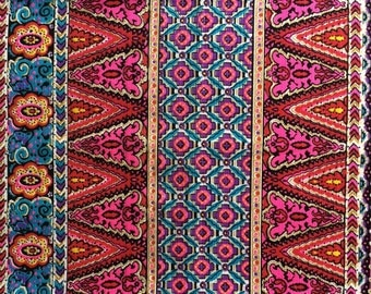 Vintage 60s - 70s Psychedelic Medium Weight Fabric in Red and Pink 1 Yard