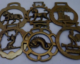 brass bridle medallions  set of 6