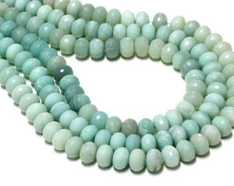 "GU-8006-3 - Amazonite Beads - Faceted Rondelle Beads - 8x12mm Gemstone Beads - 16"" Strand"
