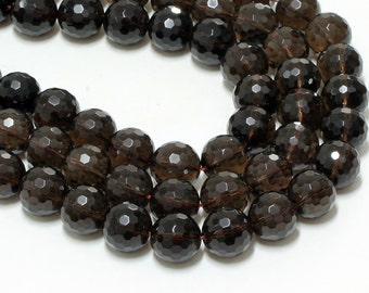 "GU-3948-7 - Natural Smoky Quartz Faceted Rounds - 16mm - Gemstone Beads - 16"" Full Strand"