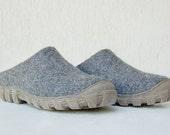 Herren Stepin Schuhe - Wolle Pantoletten für Herren - handgefertigte Stepin Herrenschuhe grau Männer Schuhe Reise Schuhe kurze Ankle Boots Filz Handarbeit