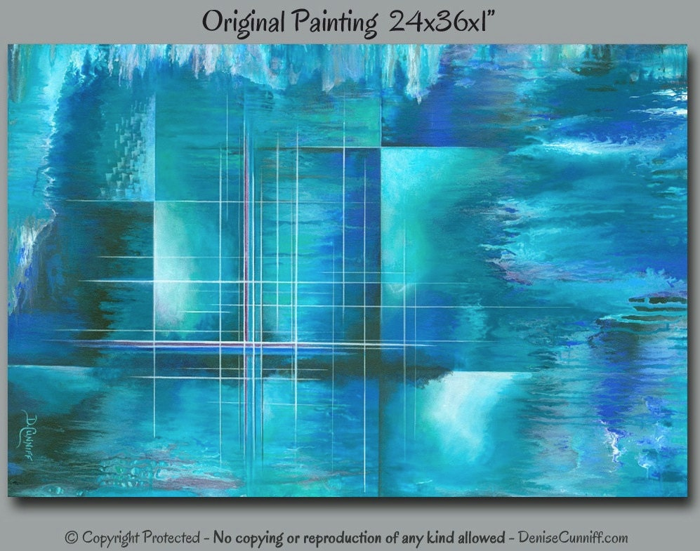 Large canvas painting blue abstract wall art turquoise teal for White canvas to paint