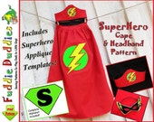 Superhero Cape Pattern, Superhero Costume Pattern, Child's Cape Pattern, Halloween.  INSTANT DOWNLOAD. Mask and Headband.  Iron-on Applique.