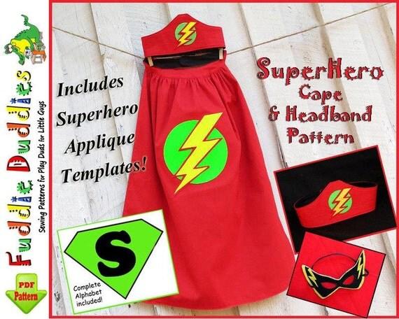 Superhero Cape Pattern, Superhero Costume Pattern, Child's Cape Pattern, Halloween.  INSTANT DOWNLOAD. Mask and Headband.  Iron-on Applique.