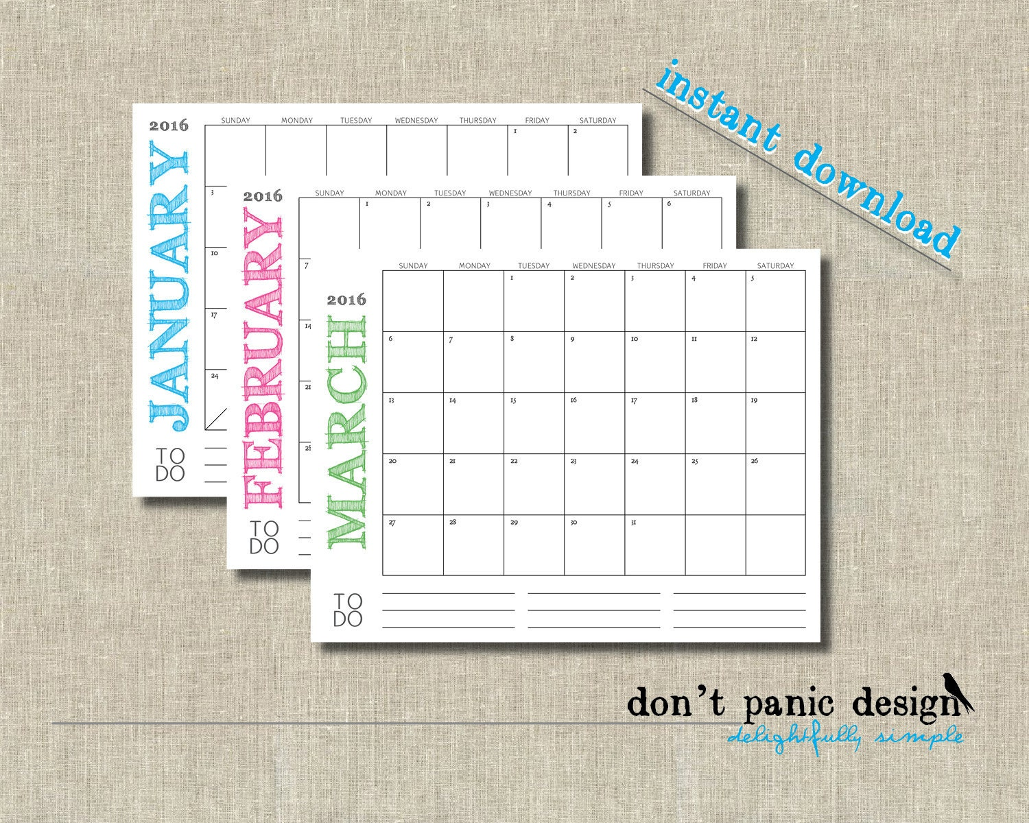 Large Printable 12 Month Calendar 2015-2016 11 by DontPanicDesign