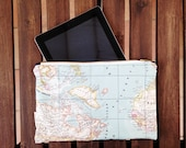 Ipad Case Sewed in Retro Map Fabric. Zipper Pouch for Ipad or as Purse, iPad Sleeve, iPad Case, iPad Cover Blue World Map