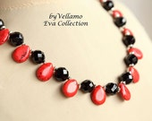 SALE Statement necklace with bright red and black stones, red teardrop turquoise, black faceted onyx gemstones, elegant classy black red nec