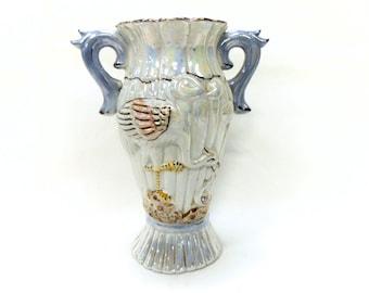 Vintage Lustre Porcelain Stork Two Handled Vase (B133)