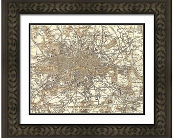 MAP of LONDON England in a Vintage Grunge Weathered Antique style