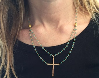Be Still Cross Necklace in Gold Vermeil and Apatite