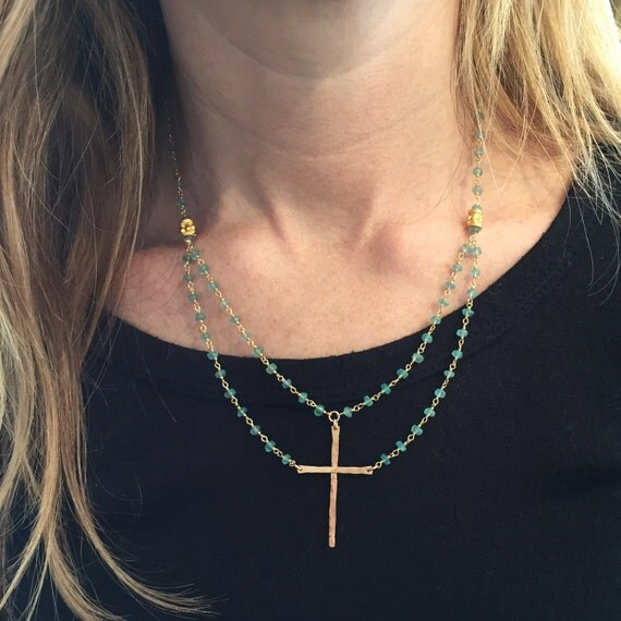 """Be Still""™ Cross Necklace in Gold Vermeil and Apatite"