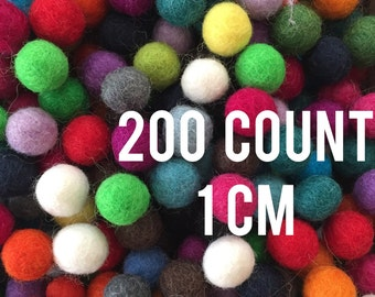 200 count 1 cm Wool Felt Balls - assorted colors