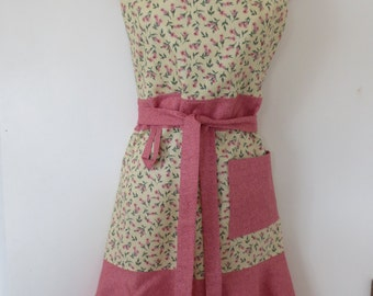 Pink and Cream Floral Print Full Apron