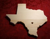 "Large 12"" Custom State Cutout with Heart Cutout - Select Any State - Custom Countries Available As Well"