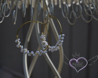 Gold Hoops with Wrapped Pearls