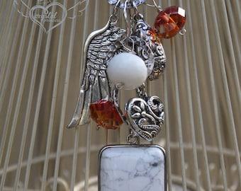 White Stone and Swarovski Crystal Charm Necklace