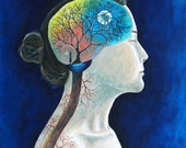 """8x10 Art Print, """"Synapse"""" Woman with Brain, Tree, Veins, Roots, Blue Surreal"""