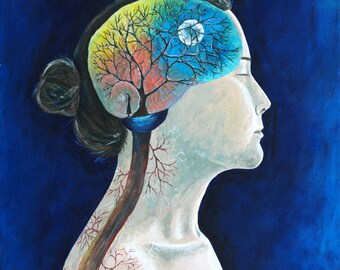 "8x10 Art Print, ""Synapse"" Woman with Brain, Tree, Veins, Roots, Blue Surreal"