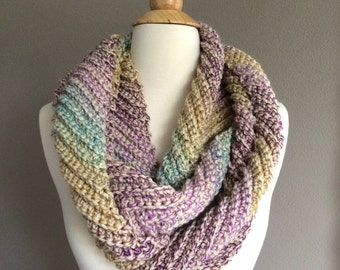 DIY Crochet Pattern:  infinity scarf, The Clementine Scarf, chevron ribbed cowl, spring scarf, ombre, easy crochet, InStAnT DoWnLoAd