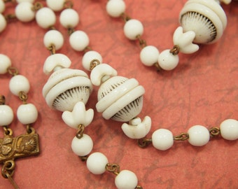 """Vintage Bead Chain Necklace / Choker - 3 Strand Milk Glass Bead Chain - Textured Beads - Embossed Metal Ends & Hook Clasp - 14 - 16"""""""