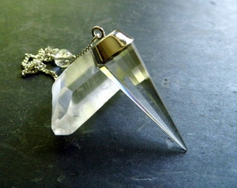 Faceted rock crystal pendant, pendant, rock crystal, silver, Wicca, magic, esotericism