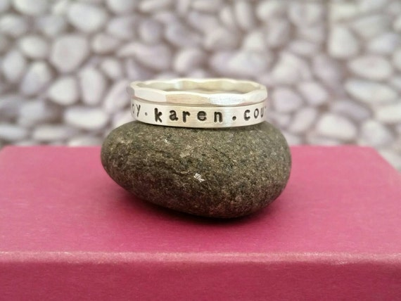 Name Ring Set in Sterling Silver, Stacking name rings, Rings with Children's names, Mother's ring, Personalized name ring