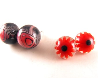 Vintage Lucite Earring Lot Two Pair Posts Marbled Lucite Flower Injected Lucite